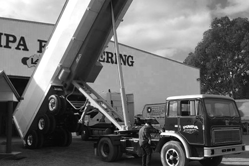 Historical photo of Pumpa Manufacturing, when it was known as Pumpa Engineering. Proud to be Australian manufacture of custom Semi Trailers.